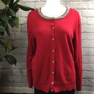 🍓 SALE! 3/$15 Red studded rhinestone XL cardigan
